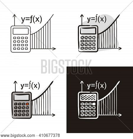 Algebra Icons Set Isolated On White Background. Calculator And Function Graph. Hand Drawn Contour Ic