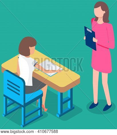 Teacher And Smart Learner. Young Woman At Desk Teaching And Helping Girl Student In Classroom. Busin