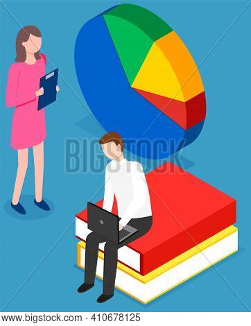 People Study Statistics. Girl Standing With Clipboard. Guy With Laptop Sitting On Stack Of Books. Co