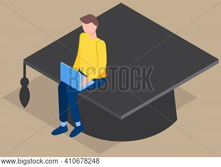Student Graduates From University. Man Is Sitting On Academic Cap. Guy Is Working On Laptop. Male Ch