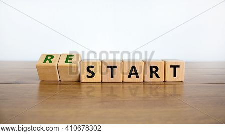 Start Or Restart Symbol. Turned Wooden Cubes And Changed The Word 'start' To 'restart'. Beautiful Wo