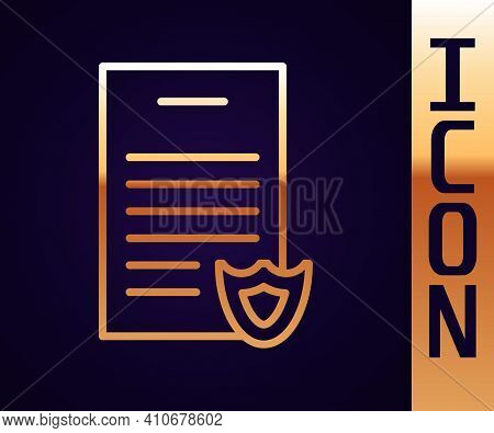 Gold Line Firearms License Certificate Icon Isolated On Black Background. Weapon Permit. Vector
