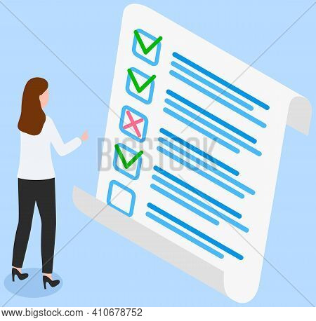 Woman Studying Questionnaire. Female Character Checks And Grades Test. Exam Assessment Concept. Cart