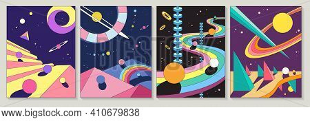Set Of Four Different Bright Colorful Abstract Designs With Planets And Winding Road In Geometric Sh