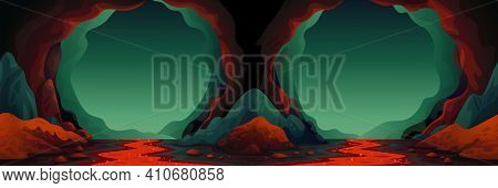 Cave - Vector Seamless Background. Cavern Landscape With An Underground Lava River In Greenish-blue