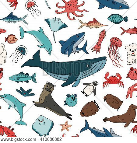 Seamless Vector Pattern Of Cartoon Outline Isolated Sea Ocean Animals. Doodle Whale, Dolphin, Shark,