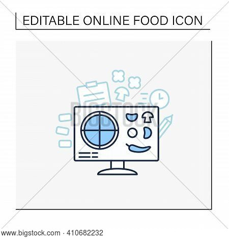 Pizza Constructor Line Icon. Application Helps Create Perfect Pizza. Online Shopping. Click-and-coll
