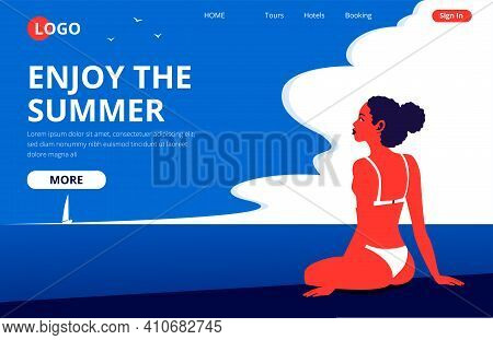 Enjoy The Summer Landing Page Template. Summertime Beach Vacation Banner With A Sunbathing Girl. Bea