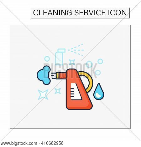 Steam Cleaning Color Icon. Cleaning Method. Steaming Process. Cleanup Flooring And Household Dirt Re