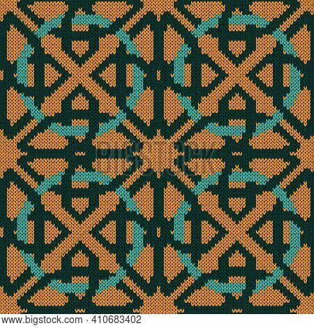 Geometrical Ornate Seamless Knitted Vector Pattern As A Fabric Texture In Turquoise And Orange Color