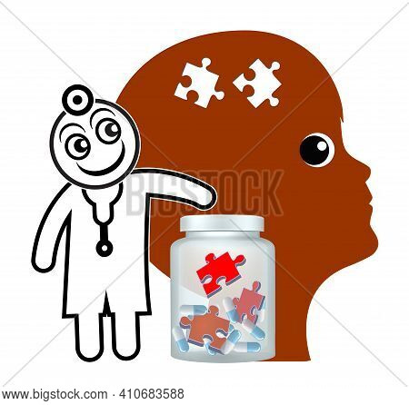 Psychotropic Medication For Children. Psychiatrist Is Treating Mental Disorder Of A Young Patient Wi