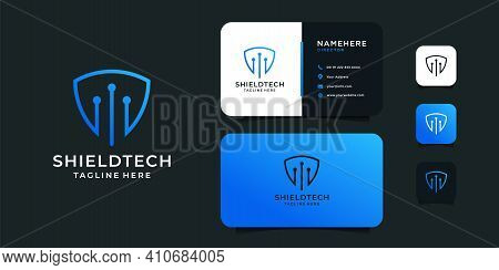 Creative Modern Shield Technology Logo Design With Business Card Vector Template. Logo Can Be Used F