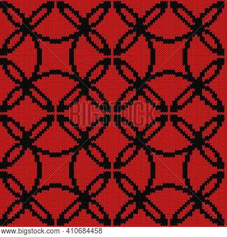Seamless Knitted Ornate Vector Pattern In Black And Red Colors As A Fabric Texture