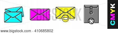 Set Envelope, Envelope, Delete Envelope And Delete Envelope Icon. Vector