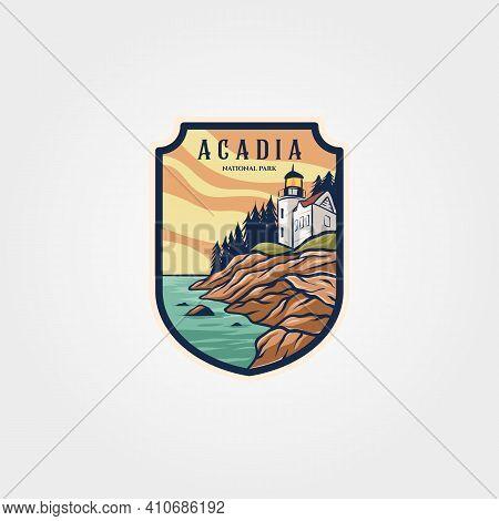 Acadia National Park Logo Sticker Patch Vector Symbol Illustration Design