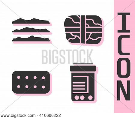 Set Medicine Bottle And Pills, Cocaine Or Heroin Drug, Pills In Blister Pack And Package With Cocain