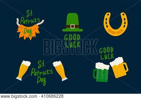 Good Luck On Patrick's Day. Green Festival Is A Celebration Of Clover. Illustrations Of Clover, Beer