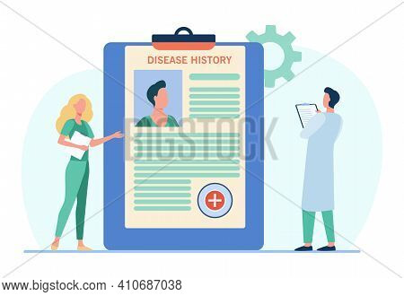 Doctors Analyzing Patients Disease History. Practitioner Work, Physician Job, Diagnosis. Flat Vector