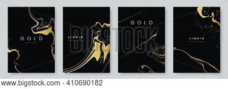 Abstract Minimalist Poster Collection With Golden Smooth Thin Ink Lines On Black Background. Luxury