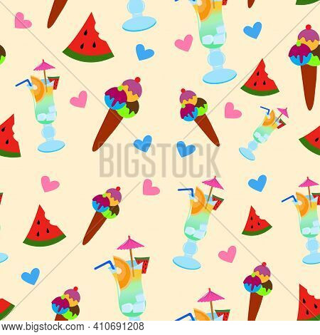 Seamless Pattern With Cocktail Glasses, Watermelons, Hearts. Summer Cocktail With Straw, Umbrella, S