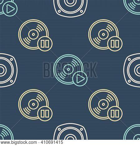Set Line Stereo Speaker, Vinyl Disk And Vinyl Disk On Seamless Pattern. Vector