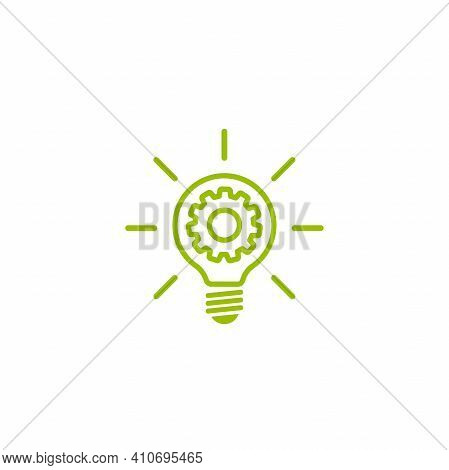Green Bulb With Gears And Rays Flat Icon. Isolated On White. New Business Idea. New Technology. Eco