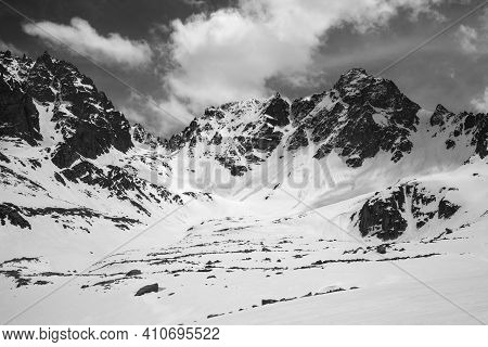Snowy Mountains With Traces From Avalanche In Sunny Spring Day. Turkey, Kachkar Mountains, Highest P