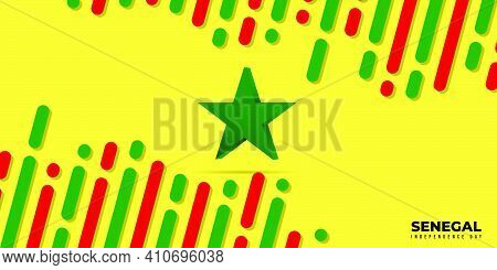 Background With Red Yellow And Green Design. Senegal Independence Day Background With Green Star Des