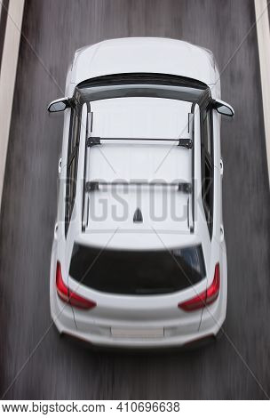 Car Moving On A Multi-lane Highway Top View Close-up
