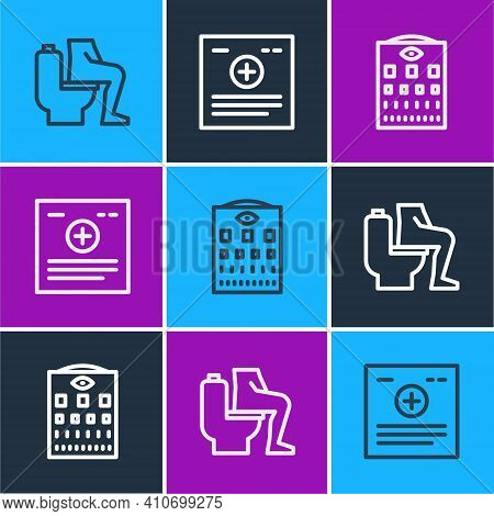 Set Line Constipation, Eye Test Chart And Clinical Record Icon. Vector