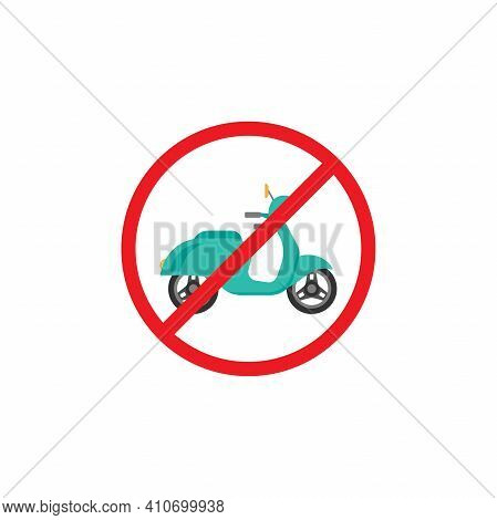 Retro Scooter Or Motorbike In Red Crossed Circle Icon. No Scooters Sign Isolated On White. Vector Il