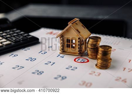 Day To Pay For Mortgage, Buying New House Planning Or Real Estate And Property Reminder Concept. Woo