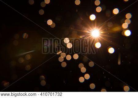 Lens Flare , Sun Flare On Black Background Object Design