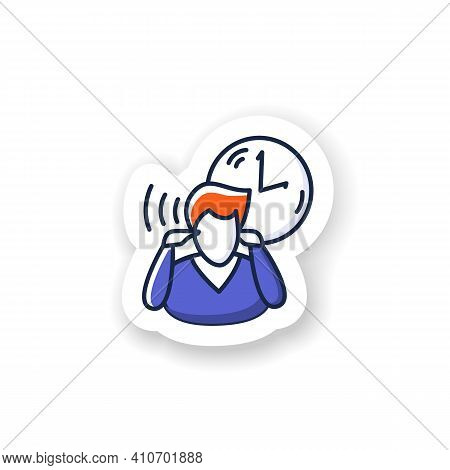 Mind Focus Sticker.man Practicing Mindfulness Attention Concentration Periods Throughout Day Badge F