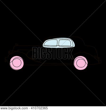 Retro Car Drawn In A Single Line With Color Accents