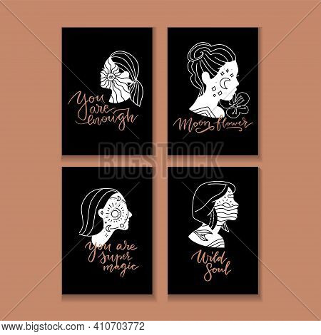 Vector Linear Illustration With Young Woman With Stars And Moon In Her Head And Motivational Letteri
