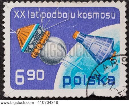 Poland - Circa 1977: Postage Stamp Vostok And Mercury Printed In Poland. Series: 20 Years Of Space C