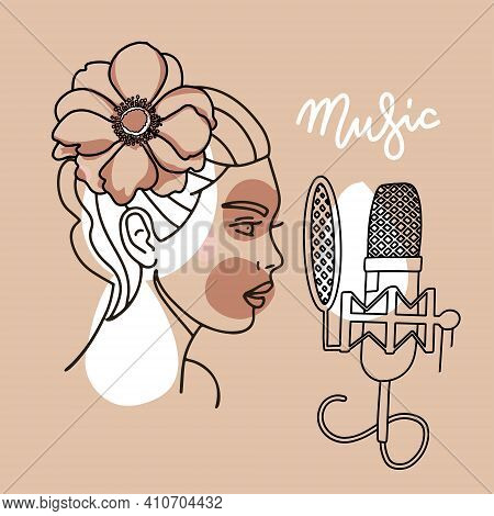 Woman With Flower In Her Hair Singing In A Microphone On A Beige Background, Female Vocalist Concept