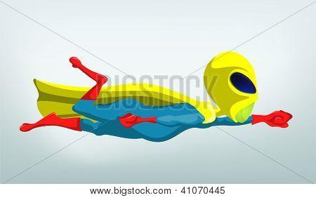 Cartoon Character Funny Alien. Vector Illustration.