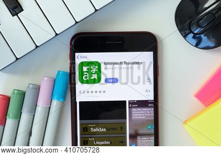 New York, Usa - 2 March 2021: Microsoft Translator Mobile App Icon On Phone Screen, Illustrative Edi