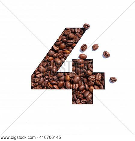 Number Four Made Of Coffee Beans And Paper Cut In Shape Of Fourth Numeral Isolated On White. Typefac