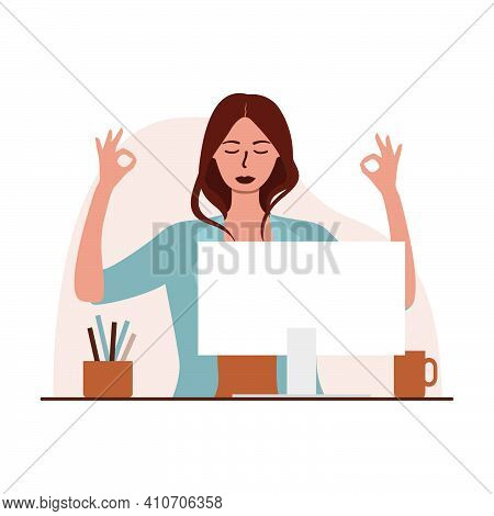 Flat Vector Illustration Of A Woman Meditating In The Workplace, Sitting In Front Of A Computer. The
