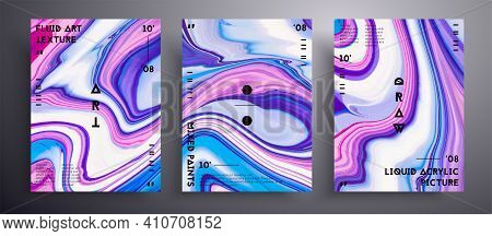 Abstract Vector Poster, Collection Of Modern Fluid Art Covers. Artistic Background That Can Be Used