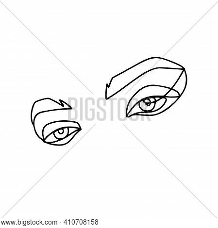 Eyes And Brows Continuous Line Drawing. Abstract Woman Portrait. One Line Face Art Vector Illustrati