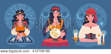 Set Of Three Different Female Gypsy Fortunetellers Using Tarot Cards, A Crystal Ball And Candles For