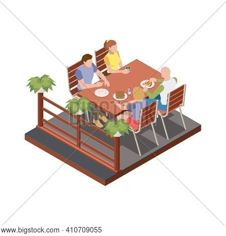 Street Cafe Terrace Isometric Composition With Two Couples Sitting At Table Outdoors Vector Illustra