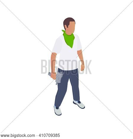 Gang Crime Robbery Stealing Isometric Composition With Character Of Criminal Holding Hand Gun Vector