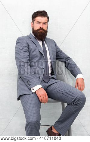 He Is Sure To Impress. Confident Businessman. Businessman Sit On Chair. Bearded Businessman In Forma