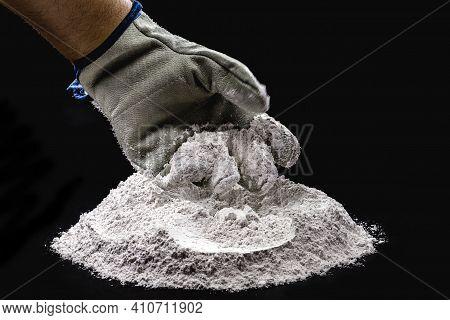 Zinc Oxide, White Powder With Hand Preparing The Compound