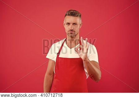 Cafe Bar Barista Job Position. Mature Barista. Restaurant Staff. Hipster Professional Apron Uniform.
